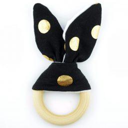 Bijtring bunny zwart goud - Style D'lx | Betaalbare lifestyle luxe
