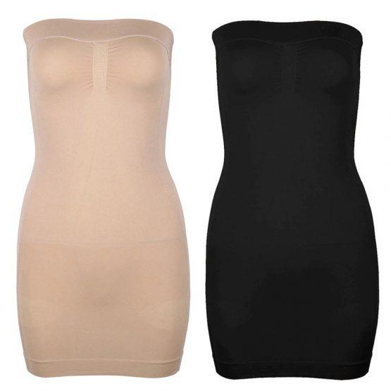 Corrigerende strapless onderjurk - Huidskleur creme Zwart | Style D'lx - Betaalbare lifestyle luxe