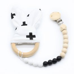 Bijtring bunny clip - Zwart wit | Style D'lx betaalbare lifestyle luxe