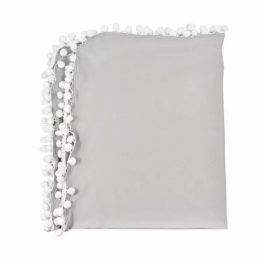 Pompom deken - Katoen grijs   Style D'lx - Betaalbare lifestyle luxe