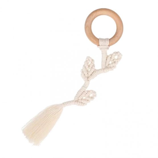 Macramé bijtring hout - Leaves | Style D'lx - Betaalbare lifestyle luxe